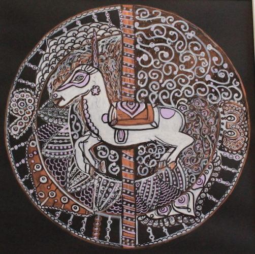 lavender carousel horse mandala